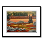 Canadian Landscape Painting Framed Art Prints, Fine Art Posters, Landscape Painting Prints, Arctic Tundra Landscape Painting Framed Prints Canadian Autumn Tundra Art Prints & Posters, Canadian Autumn Landscape tundra Nature Painting, Autumn Canadian LAndscape Painting  Sunset Painting with polar bear Art prints & posters Autumn Landscape Painting gifts, gift, art, artwork, painting, prints, scenic, animals, wildlife, scenery, nature, watercolor, beautiful, original, colorful Canadian Landscape Gifts & More