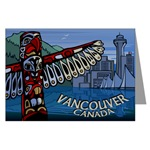 Vancouver BC Souvenir Greeting Cards 6 Pack Vancouver Totem Landmarks Art Cards