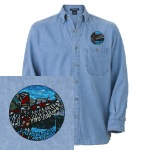 Embroidered Vancouver Souvenir Shirts Cool Landmark, Inukshuk & Totem Polo Vancouver Canada Souvenir Denim Shirts