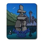 Vancouver Canada Mousepad Vancouver Inukshuk  Vancouver Canada Souvenir Mousepads & Gifts for Home & Office
