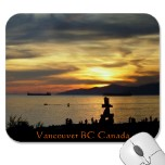 Vancouver sunset mousepads & Vancouver souvenirs Gastown keepsakes & stylish Vancouver souvenir home & office decor