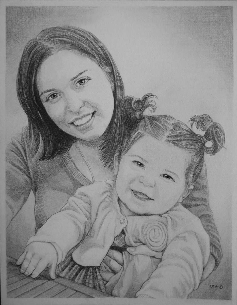 Pencil sketch mom baby
