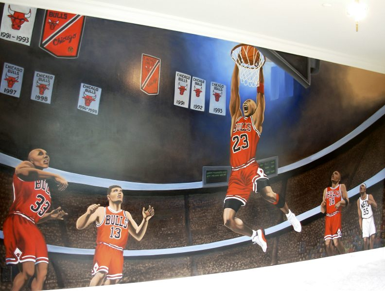 Mural artsit designer kim hunter indigo muralist for Basketball mural wallpaper