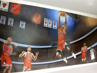 Michael  Jordon Painting Mural Bulls Basketball Sports Wall Mural by Vancouver Artist / Muralist Kim Hunter / Indigo Cool  Original Realism Wall Mural Michael Jordon Portrait / Painting Wall Mural Basketball Painting Kid's Room Mural