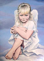 childs painted portrait from photos painting Oil on Canvas Childs Portrait cherib Painting Artist  INDIGO aka KIM HUNTER