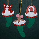 Christmas Stockings Cat, Dog, Mouse Handmade Wooden Christmas Decorations Traditional Handcrafted Christmas Ornaments Decorations Cute Christmas Stockings with dog, cat & mouse Handmade Wooden Christmas Decorations