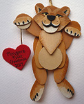 Handmade lion wood ornaments Handcrafted custom wooden decorations are approximately 3 - 4 inches