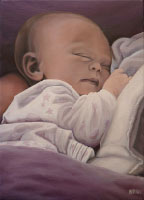 Custom painted baby portrait on canvas from photograph. Painting in oil of sleeping baby Custom painted portaits from photos by Vancouver artist / designer Kim Hunter avaliable.