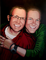 Stylized portrait from photos Painted Portrait in Acrylic Same Sex Couples in Love Custom Painting
