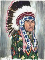 Native / Indian Chief portrait painting first nations native indian portrait Commissioned original portrait painting Portrait of Eric First Nations Chief portrait water colour painting Artist  INDIGO aka KIM HUNTER