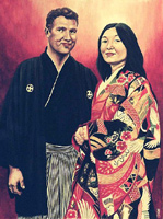 Custom painted wedding portrait on canvas from photograph. Painting in watercolour of  bride & groom in Japanese attire. Custom  painted & sketched portaits Avaliable.