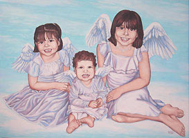 Painted Portrait of children, kid's, girls, painted portrait from photographs angels painting custom fine art portraits