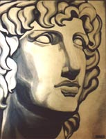 Original greek god painting acrylic painting or roman sculpture of alex. gold and black stylised portait. by canadain contemporty artist Indigo aka Kim Hunter Click on Image for Detail
