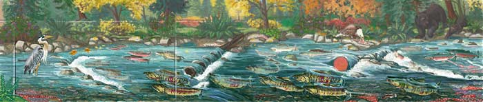 Wildlife Mural Design Hyde Creek Wall Mural Port Coquitlam BC Landscape / Wildlife Mural Painting by Vancouver Artist Muralist Kim Hunter