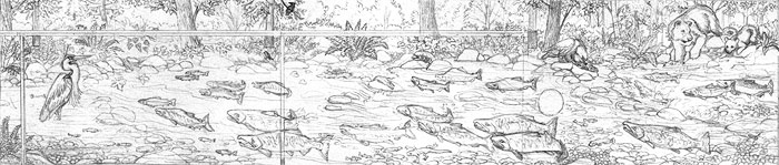 Wildlife Mural Sketch Hyde Creek Wall Mural Port Coquitlam BC Landscape / Wildlife Mural Painting by Vancouver Artist Muralist Kim Hunter