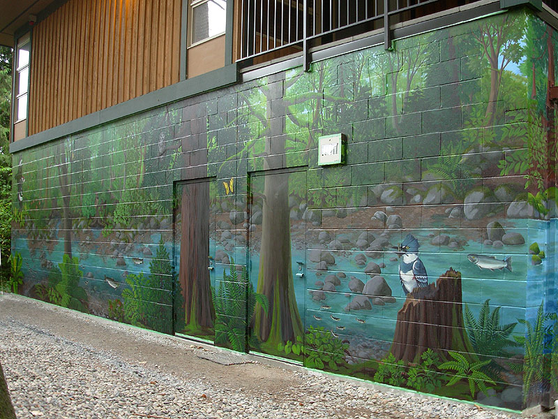 Mural artist designer kim hunter indigo muralist for Exterior wall mural ideas