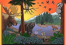Wildlife Design for Wall Mural Childrens Wall Mural Landscape & Wildlife Mural Painting by Vancouver Artist Muralist Kim Hunter