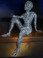 Wire Sculpture Seated Male Man Wire Art Wire Art Lizard. Original Arts & Crafts by Canadian Artist Kim Hunter Custom Dolls & Crafts Available.