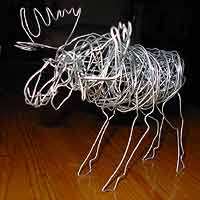 Wire Sculture Art Wire Moose Sculpture. Original Arts & Crafts by Canadian Artist Kim Hunter Custom Dolls & Crafts Available.
