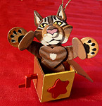 Handcrafted custom wooden decorations Cat in the Box are approximately 4 inches