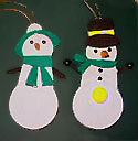 Snow Man & Snow Woman Handmade Wooden Christmas Decorations / Traditional Wooden Handcrafted Snowman Christmas Ornaments