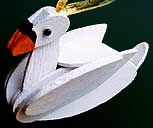 Handmade Wooden Swan Christmas Decorations / Traditional Wooden Handcrafted Swan Christmas Ornaments