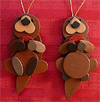 Handmade Wooden Christmas Decoration Wood Handcrafted Christmas Ornaments West Coast Canadian Wildlife Series Adorable Otters