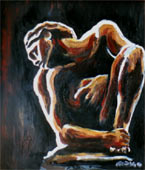 abstract painting Rodin's crouching woman in a  rough impressionist painting