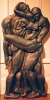 nude Sculpture threesome, 3 nudes entangled  relief wallhanging click on Image for detail
