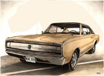 67 charger vintage car painting custom car drawings & paintings by kimhunter.ca