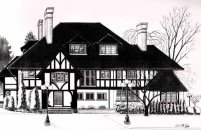 Landscape painting Sketch Illustration Brock House  graphic designer / artist Graphic art web design commercial art, architectural rendering, pen and ink drawing, watercolour illustration, Click on Image for Detail