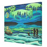 Inuit Love First Nations Aurora Painting Print on Canvas