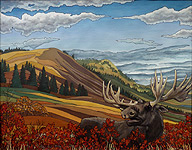 Moose painting, landscape painting  with Moose in Alberta Foothills Painting For Sale wildlife painting Canadian Artist Kim Hunter / Indigo Commissioned paintings welcome!