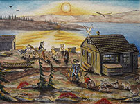Canadian Arctic Painting Dog Sled Team Traditional Inuit Landscape Painting