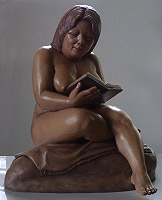 Seated Nude Sculpture custom one of a kind sculpture seated nude reading a book polymer clay sculpture full figure woman