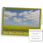 Canadian Landscape Cards Manitoba Pairie Cards Personalized or Blank