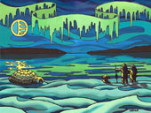 "Inuit Love Painting Arctic Landscape Painting Canadian First Nations Painting 16"" x 20"" Arcylic on canvas"