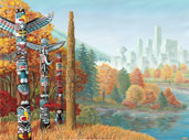 Vancouver Landscape Painting Totem Poles in Autumn w. Cityscape Painting on Paper