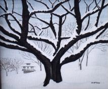 Landscape painting oak tree painting Original landscape painting Oak Tree in Winter English Bay Vancouver BC Painting  Click on Image for Detail