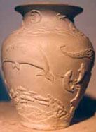 Sculpture Arctic Sealife Vase in Relief CLICK ON IMAGE FOR DETAIL