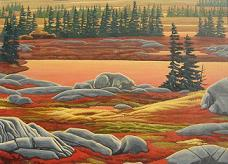 Landscape painting Polar Bear Painting Churchill MB Arctic Landscape Autumn polar bear painting by Canadian Artist Kim Hunter / Indigo