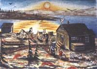 Churchill MB  the flats painting Inuit Child with Mother feeding Husky Sled Team in Autumn Sunset on the Churchill River Original Painting Click on Image for Detail