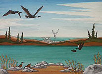 WILD BIRDS painting tundra Churchill MB Water Fowl, Shore Birds, Arctic Tundra Spring Mating Season  Original  Painting Churchill MB Click on Image for Detail