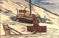 painting Husky dog and Boat in winter down by the bay Churchill MB Original Painting Click on Image for Detail