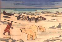 wildlife painting Polar Bear Painting. Unique arctic landscape,  polar bear & inuit painting