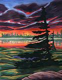 Tundra Sunset Canadian landscape Painting churchill manitoba landscape painting click on Image for detail