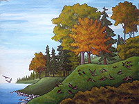 BC Stanley Park landscape painting Vancouver English Bay Red Tree in Early Autumn Painting For Sale wildlife painting Canadian Artist Kim Hunter / Indigo Commissioned paintings welcome!
