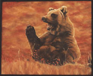 grizzly bear painting, bear oil painting in Alpine Meadow Oil Painting wildlife painting by Canadian Artist Kim Hunter / Indigo Commissioned paintings welcome!