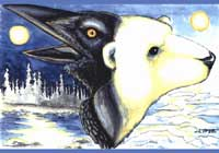 "Polar Bear & Raven painting ""Night and Day"" Original Painting Click on Image for Detail"