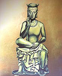 Original buddha oil painting on bristle board painting by contemporary Canadian Artist Kim Hunter aka INDIGO